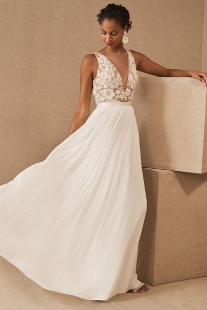 Affordable a-line wedding dress with lace top