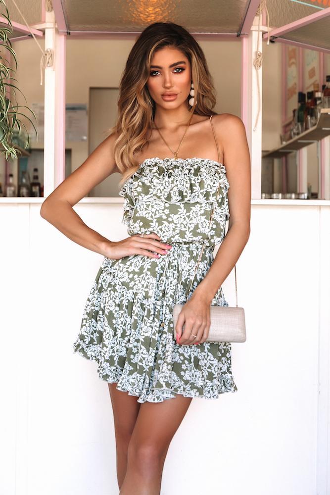 Short sage green floral dress