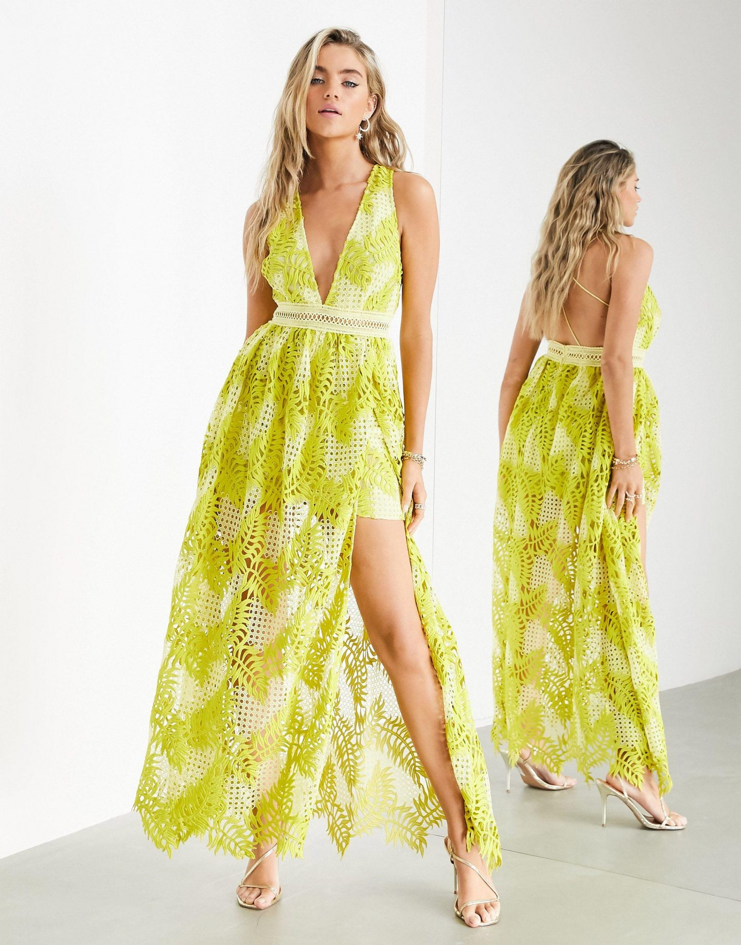 Long lime green embroidered dress