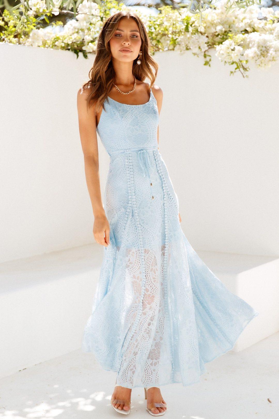Long light blue beach wedding guest dress