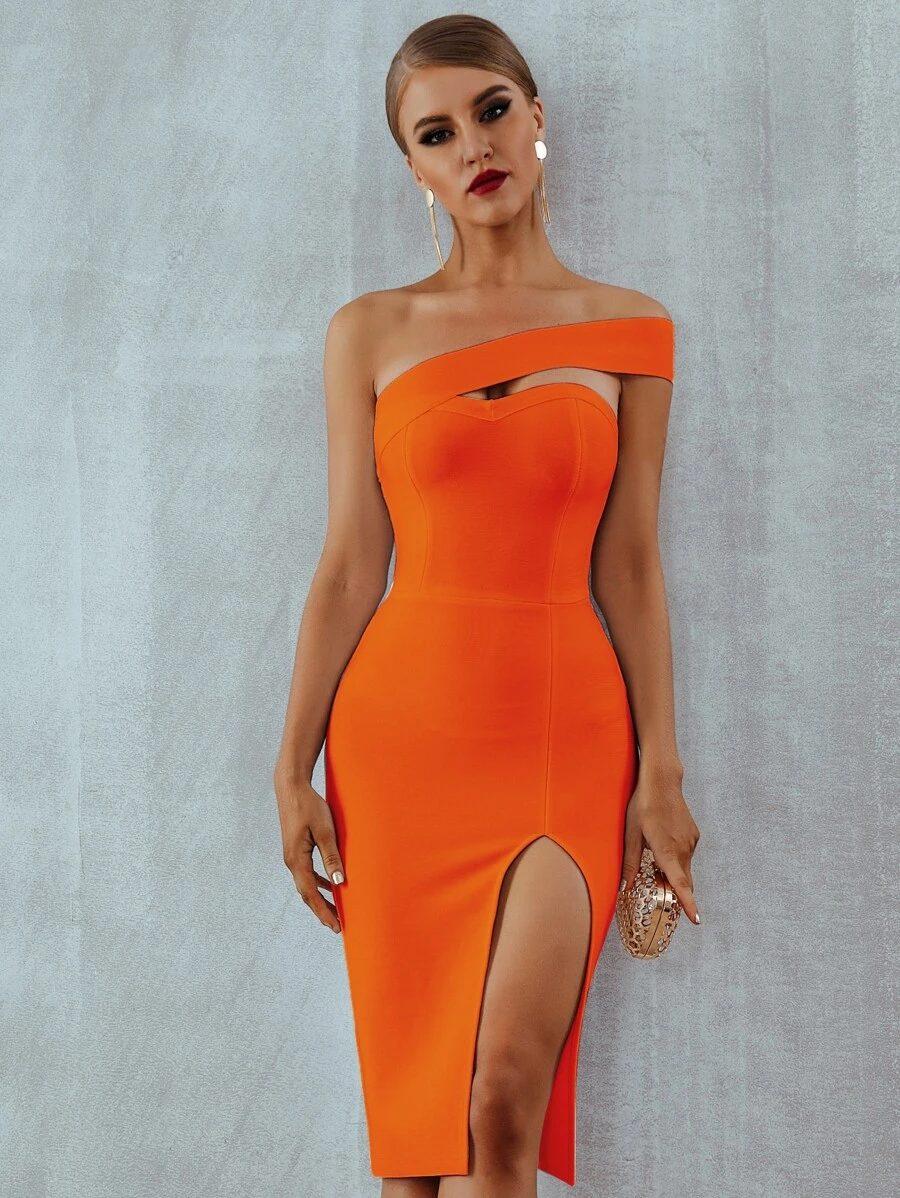Bright orange bodycon dress