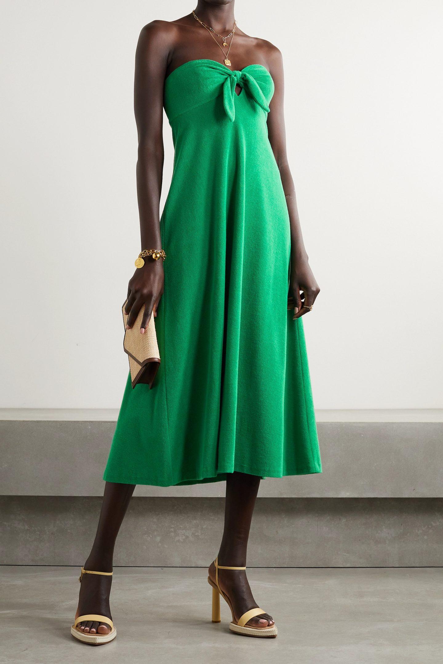 Bright green midi dress