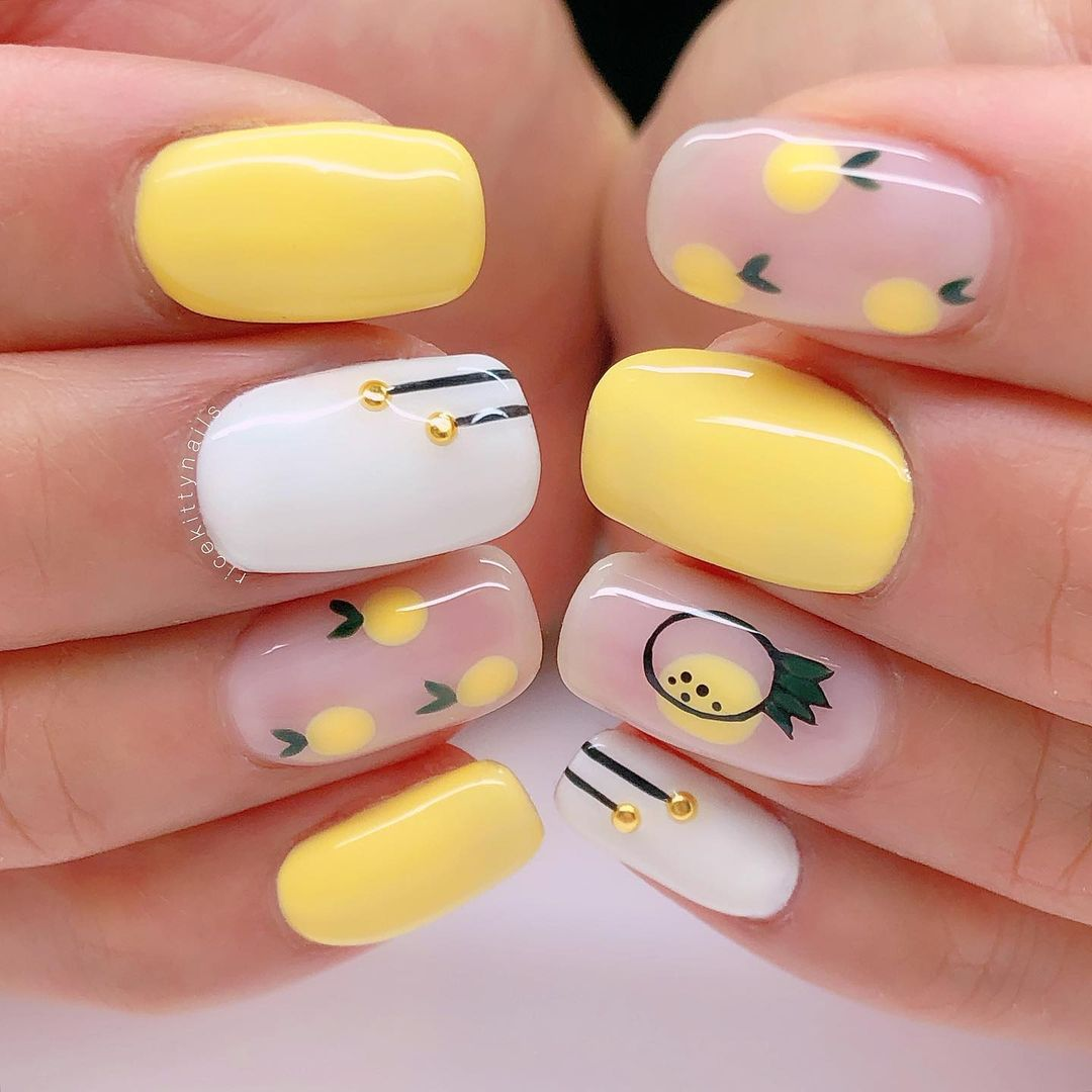 Yellow lemon fruit nails