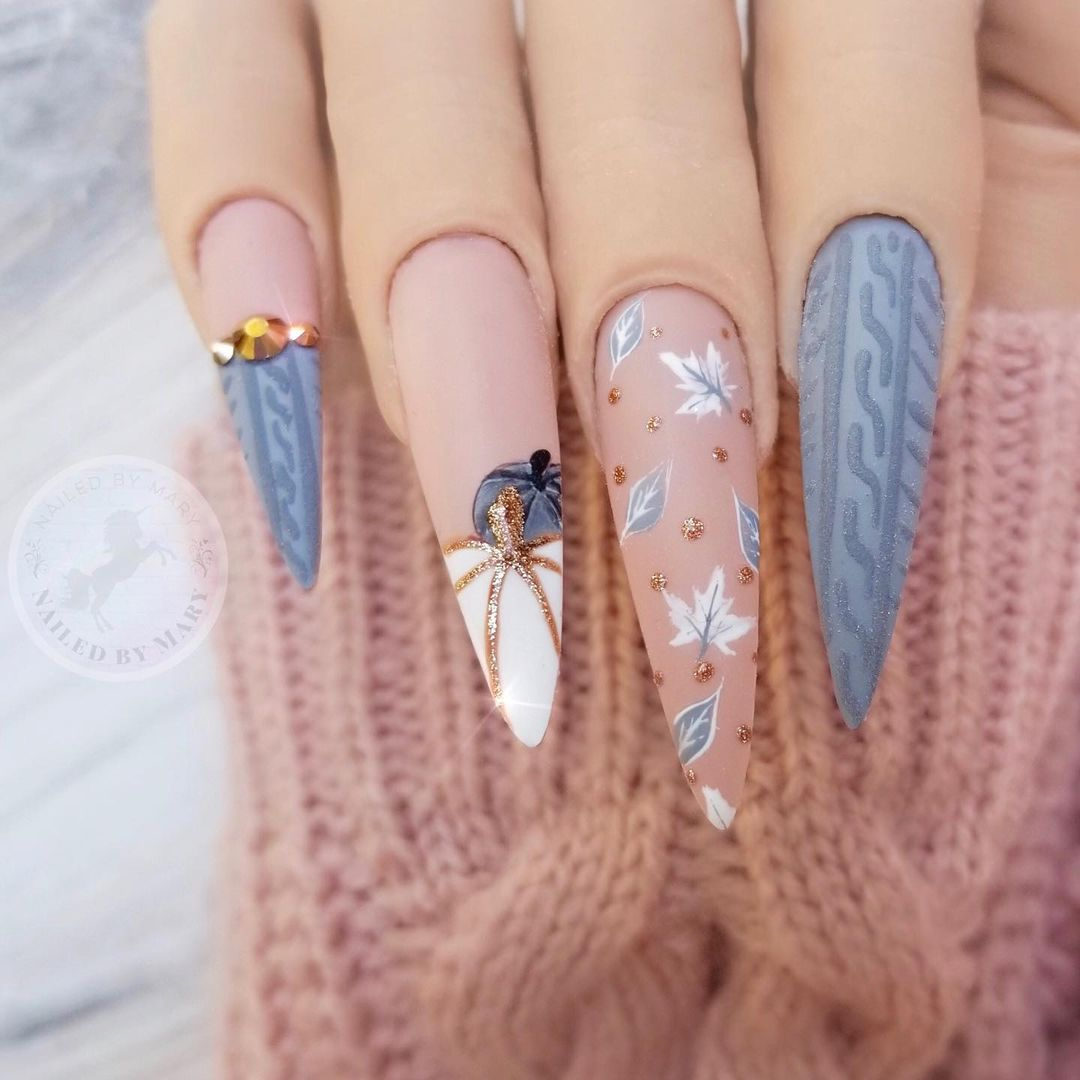 Sweater Weather pink and blue matte nails