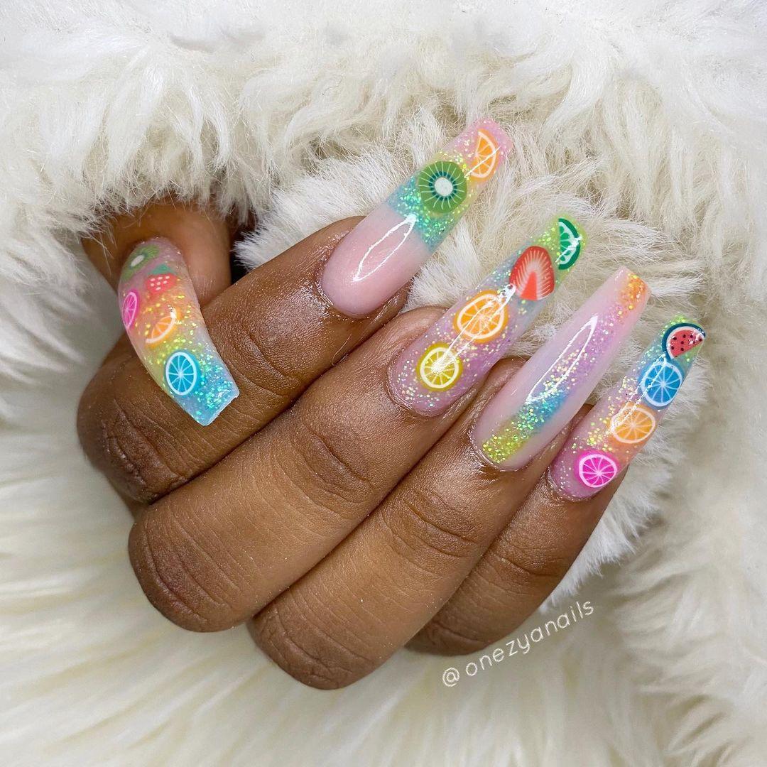Glitter fruit nails
