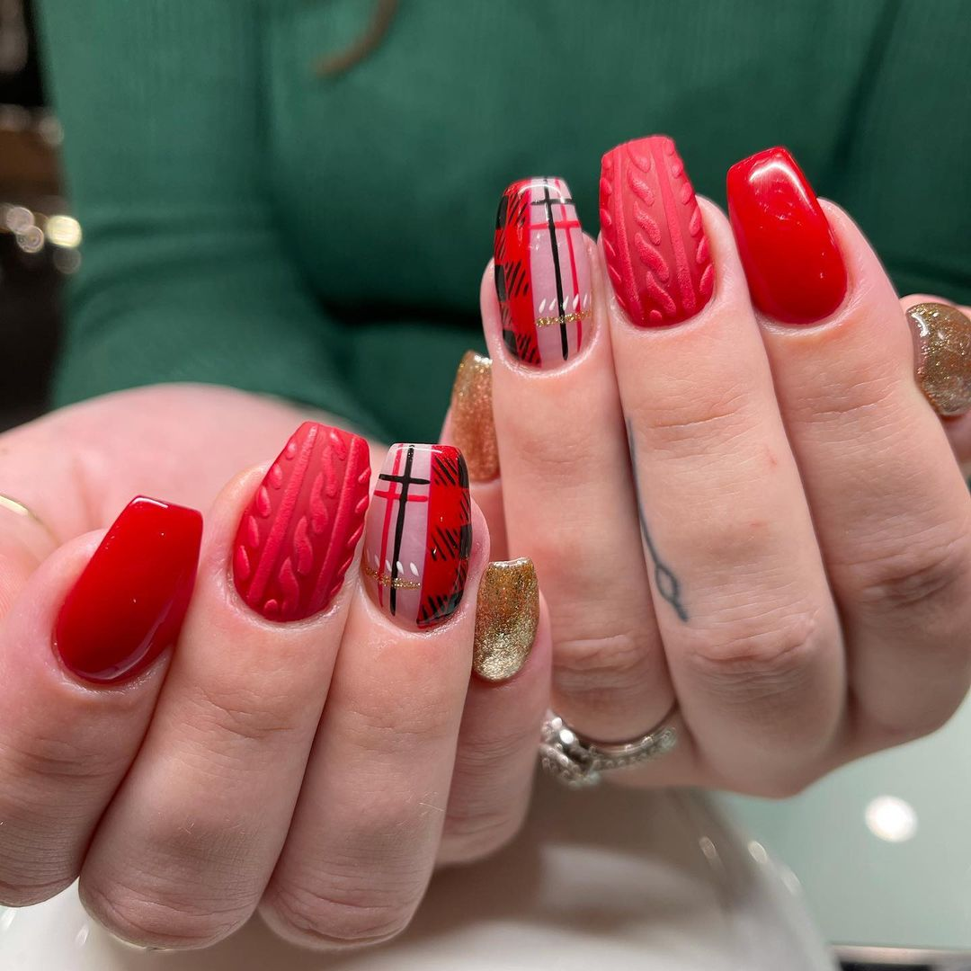 Deep red plaid sweater nails