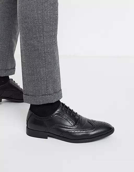 Black faux leather dress shoes