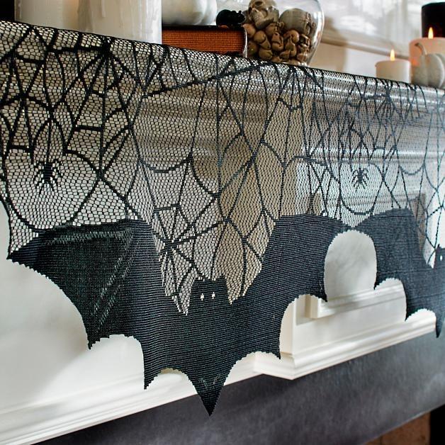 Bats Mantle Scarf in Black for indoor Halloween decor