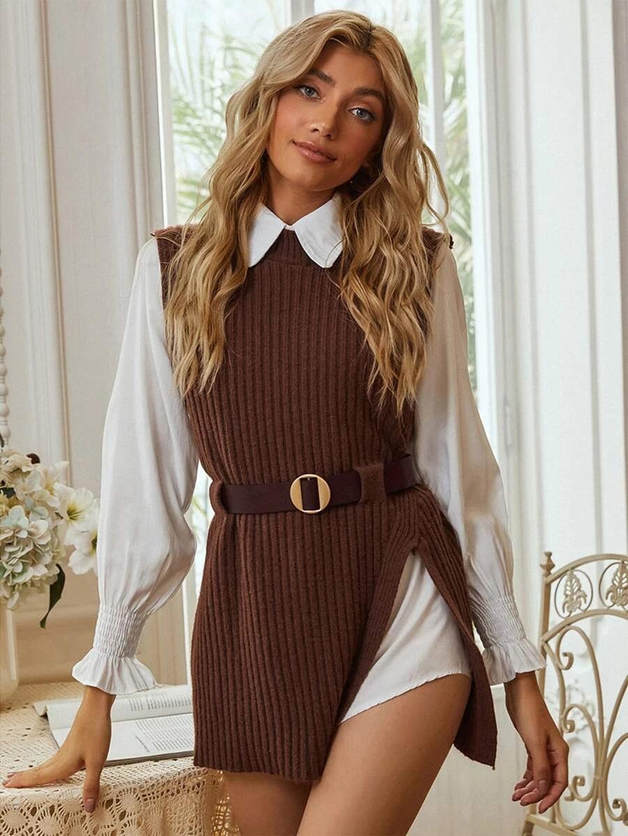 Dark brown ribbed long sweater vest