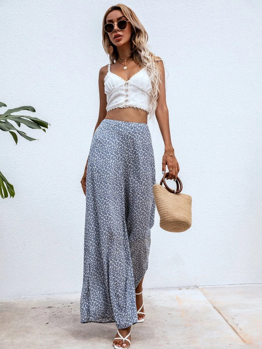 What To Wear To A Boat Party: Blue floral wide leg pants
