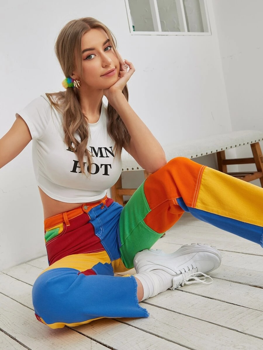 Kidcore Outfits: Playful colorblock pants