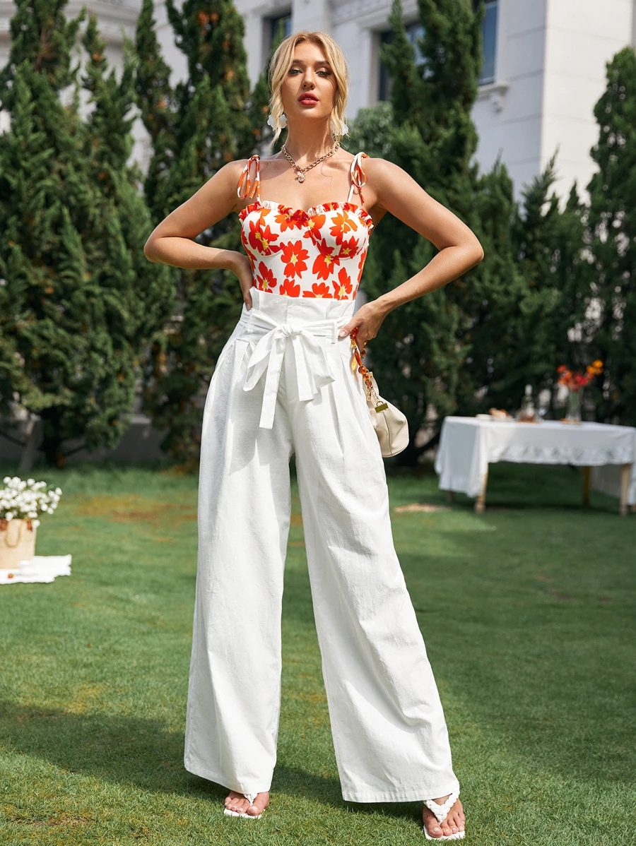 What To Wear To A Boat Party: White wide-leg pants