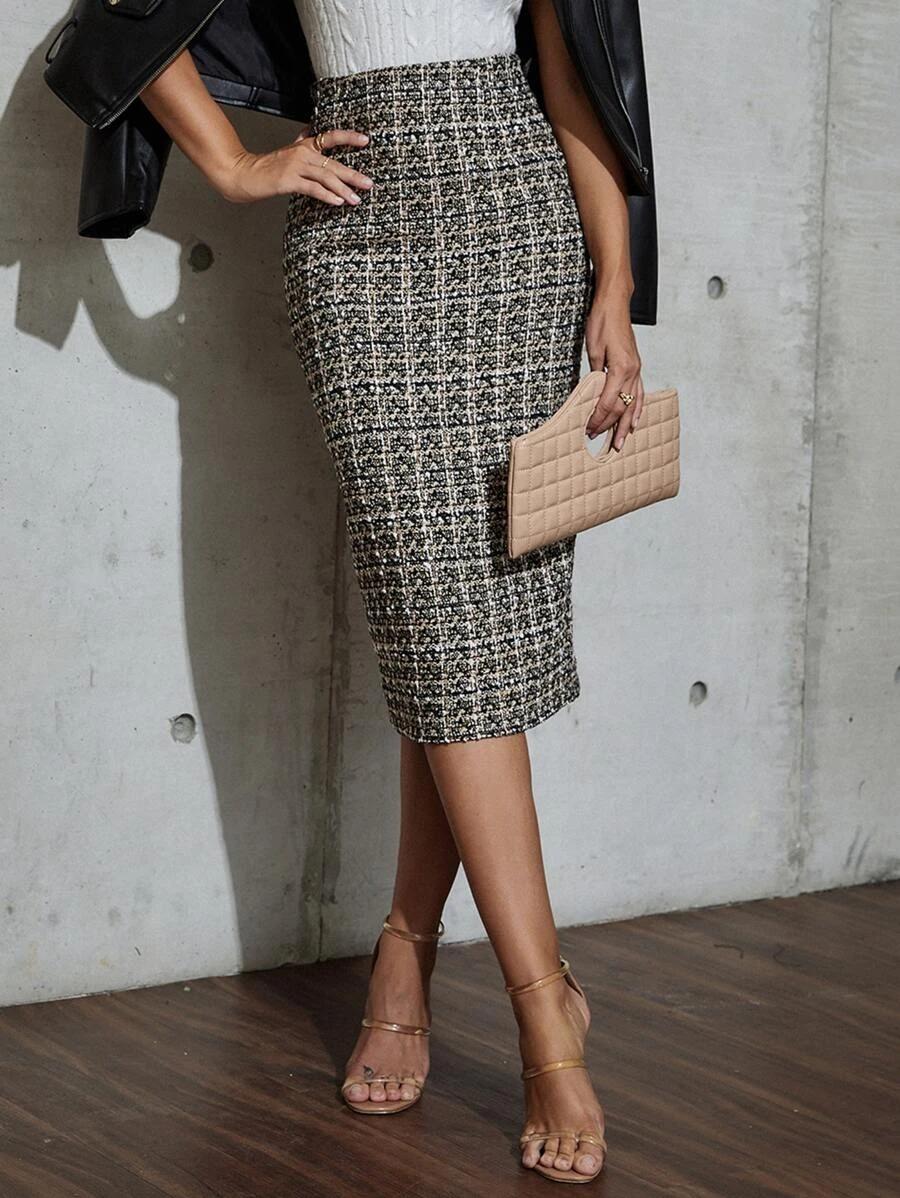 Tweed midi pencil skirt
