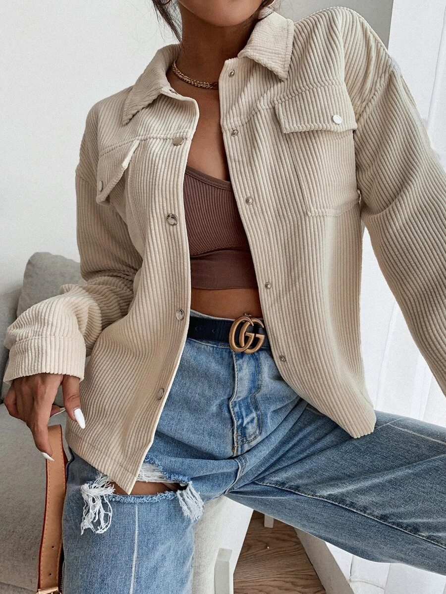 Light Academia Outfits: Cream corduroy jacket