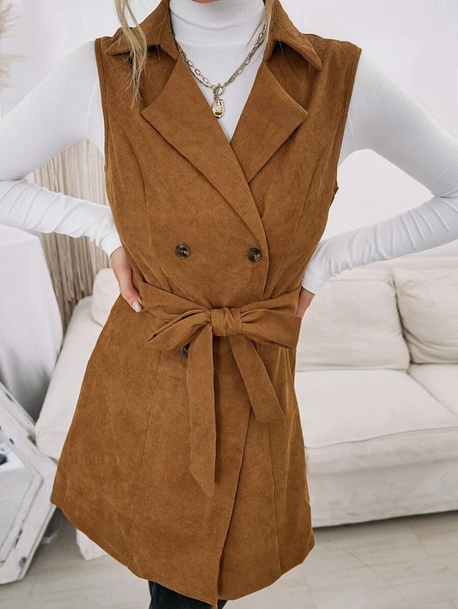 Brown corduroy long vest