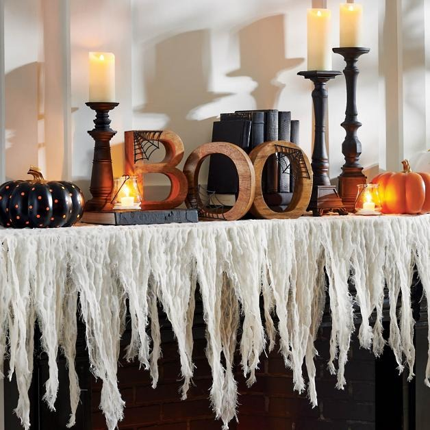 """Gauze Mantle Scarf with""""BOO"""" for indoor Halloween decor"""