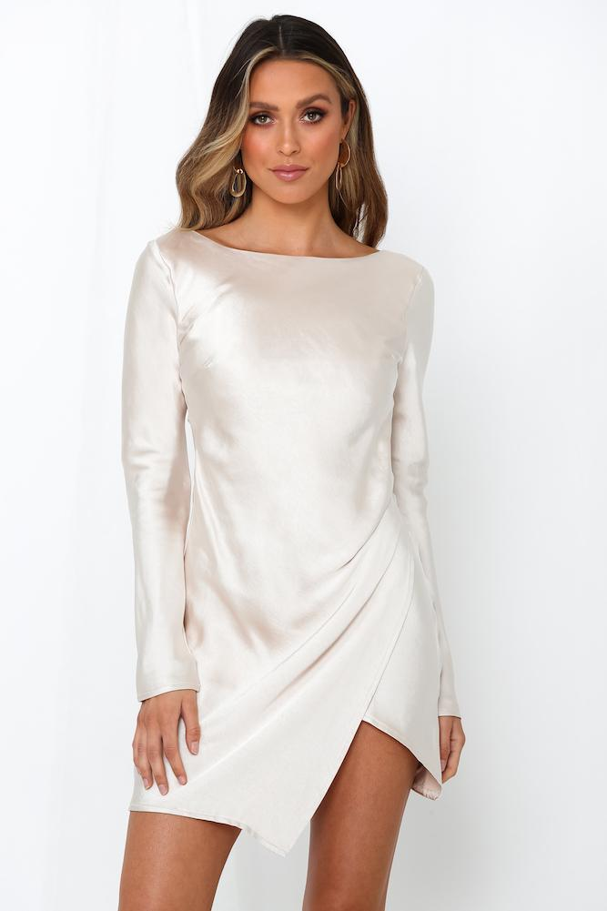 What To Wear To A Celebration Of Life: Satin long sleeved dress