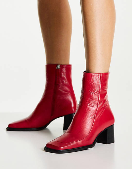 Deep red leather boots