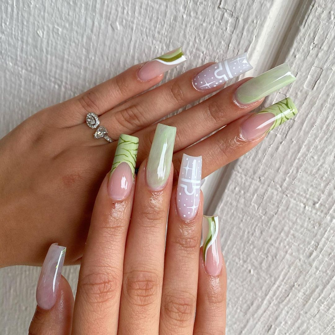 Sage green patterned nails