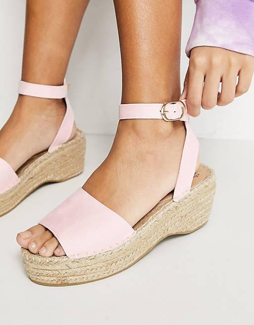 Espadrille wedge sandals in blush pink