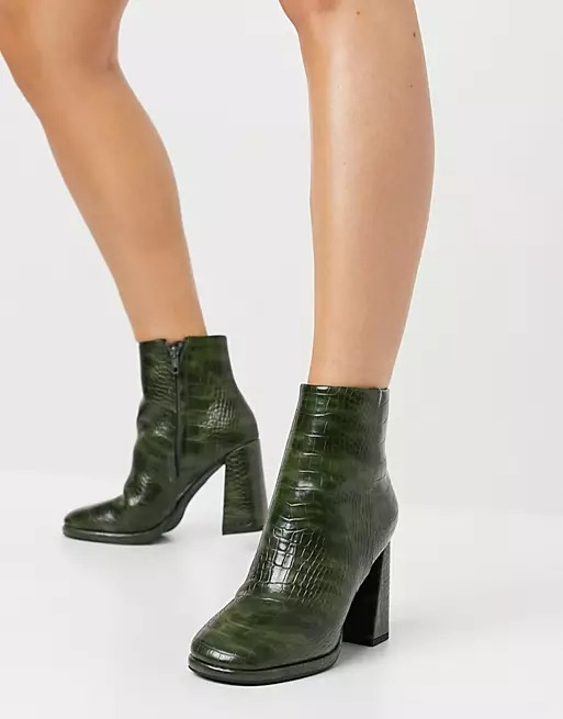 Green croc print ankle boots with block heels