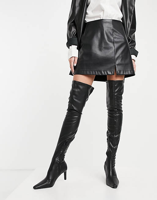black leather thigh high boots