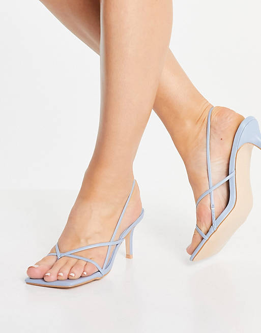 What Color Shoes To Wear With A Navy Dress: Light blue kitten heels