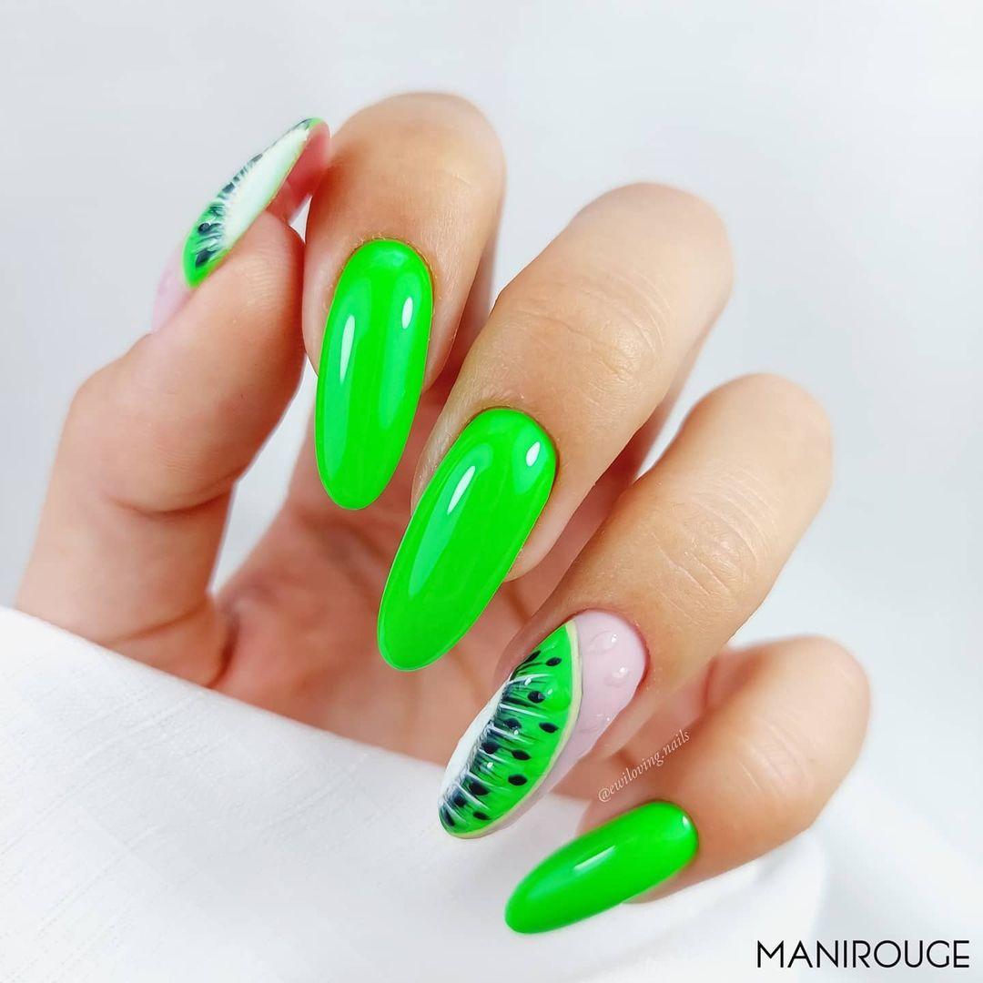 Neon kiwi fruit nails
