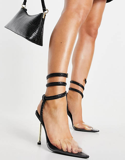 What Color Shoes To Wear With A Navy Dress: Sleek strappy heels
