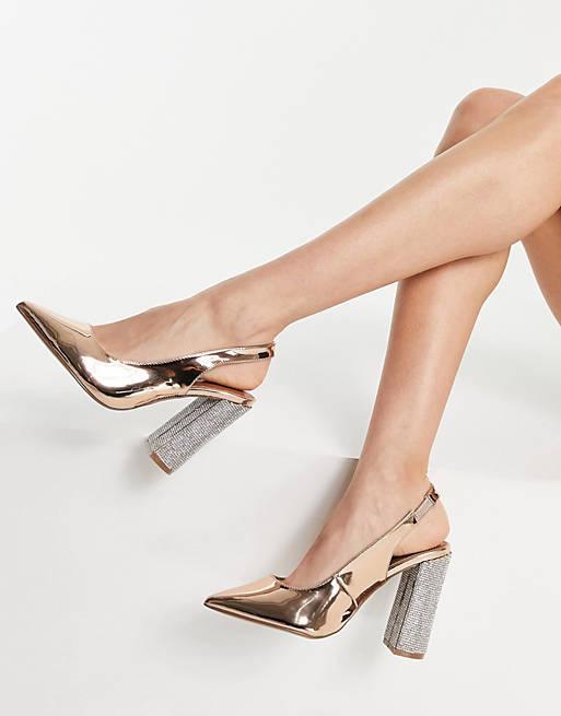 Gold metallic slingback block heels