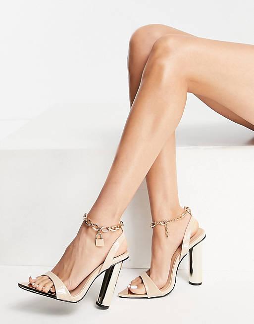 Cream block heels