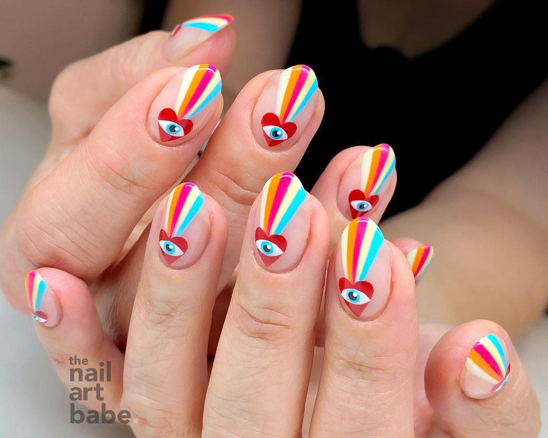 Colorful retro evil eye nails