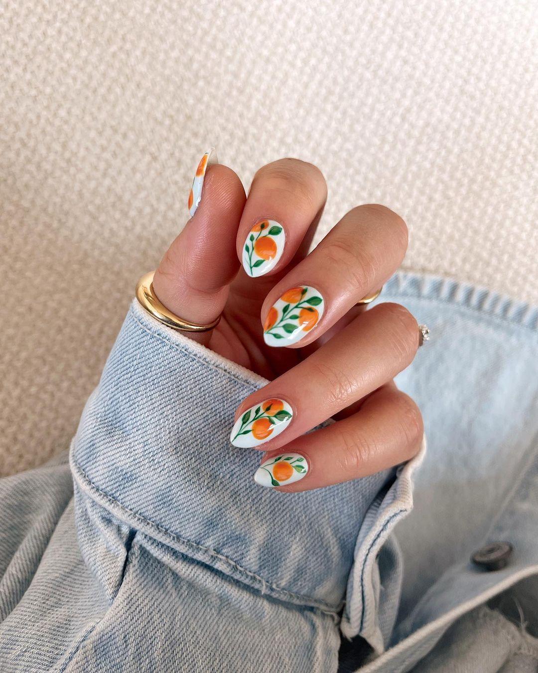 Orange fruit nail stickers