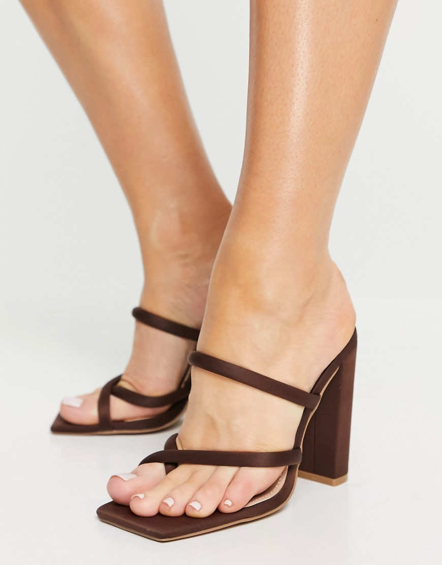 What Color Shoes To Wear With A Navy Dress: Dark brown block heel sandals