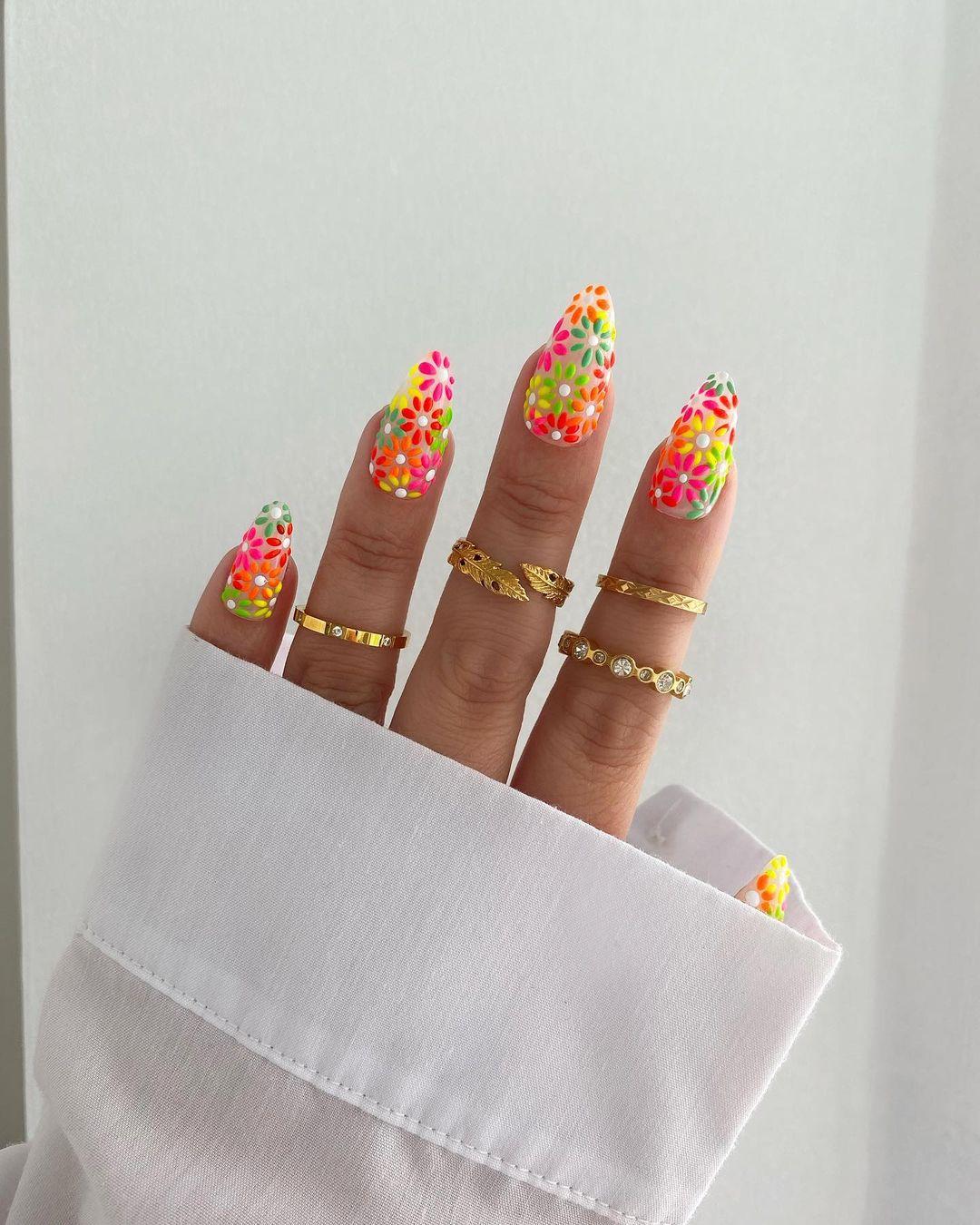 Neon daisy nails