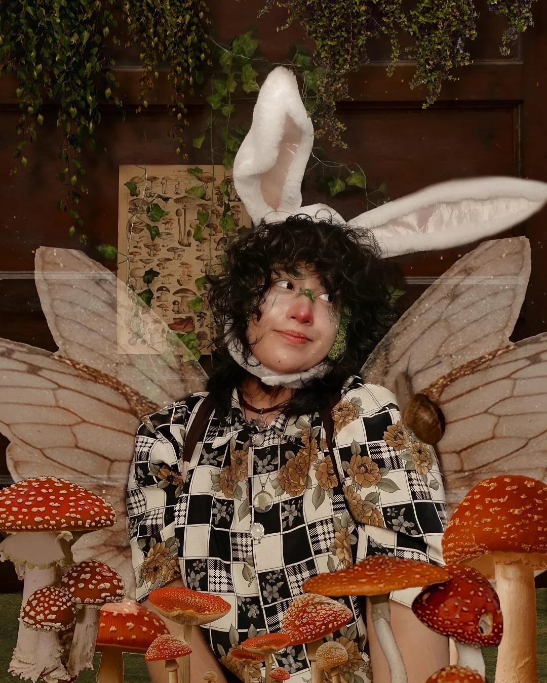 Fairy and mushroom goblincore aesthetic