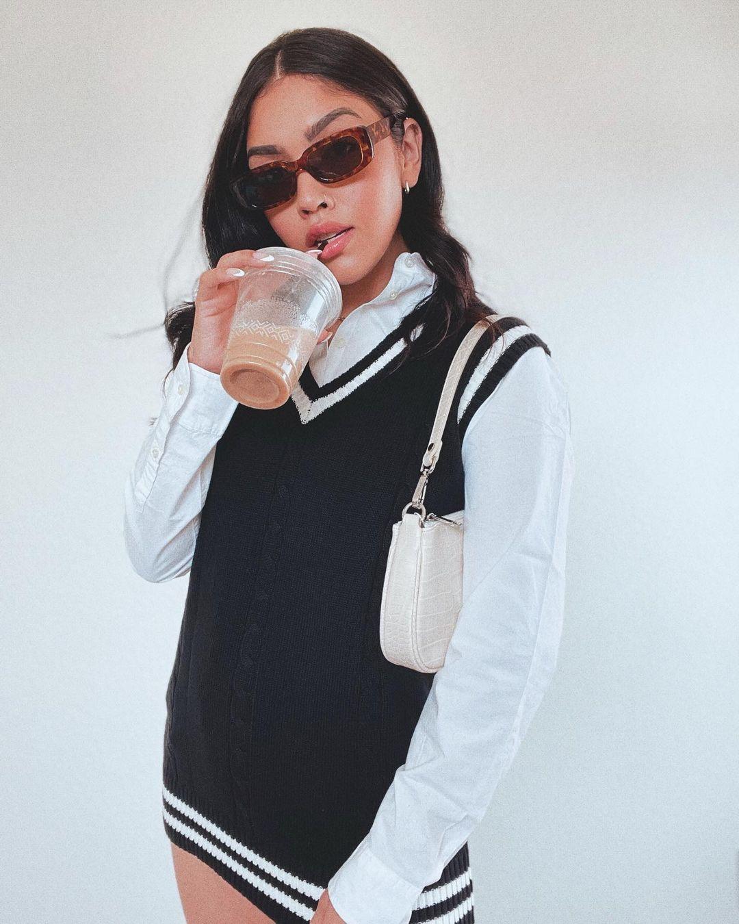 Black sweater dress vest