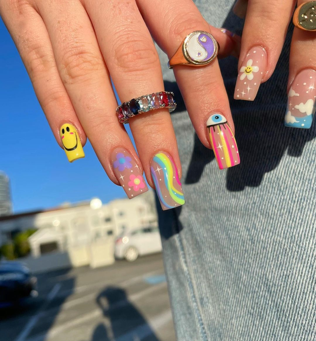 Colorful rainbow square nails with smiley face and flowers