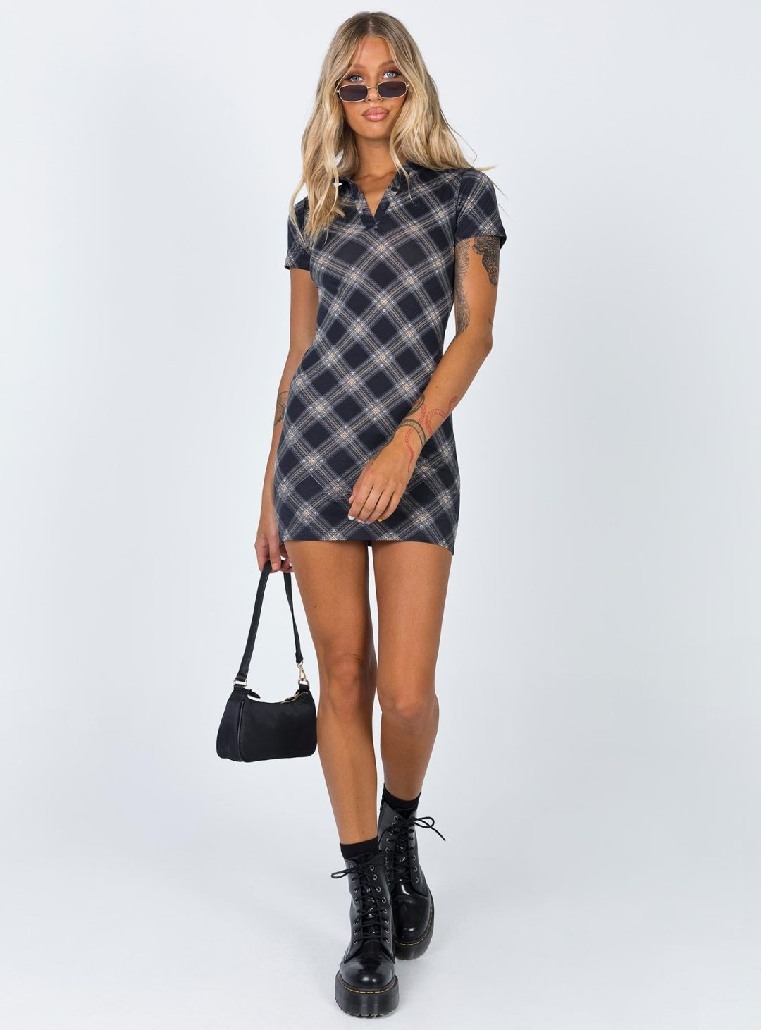 Checkered black bodycon dress
