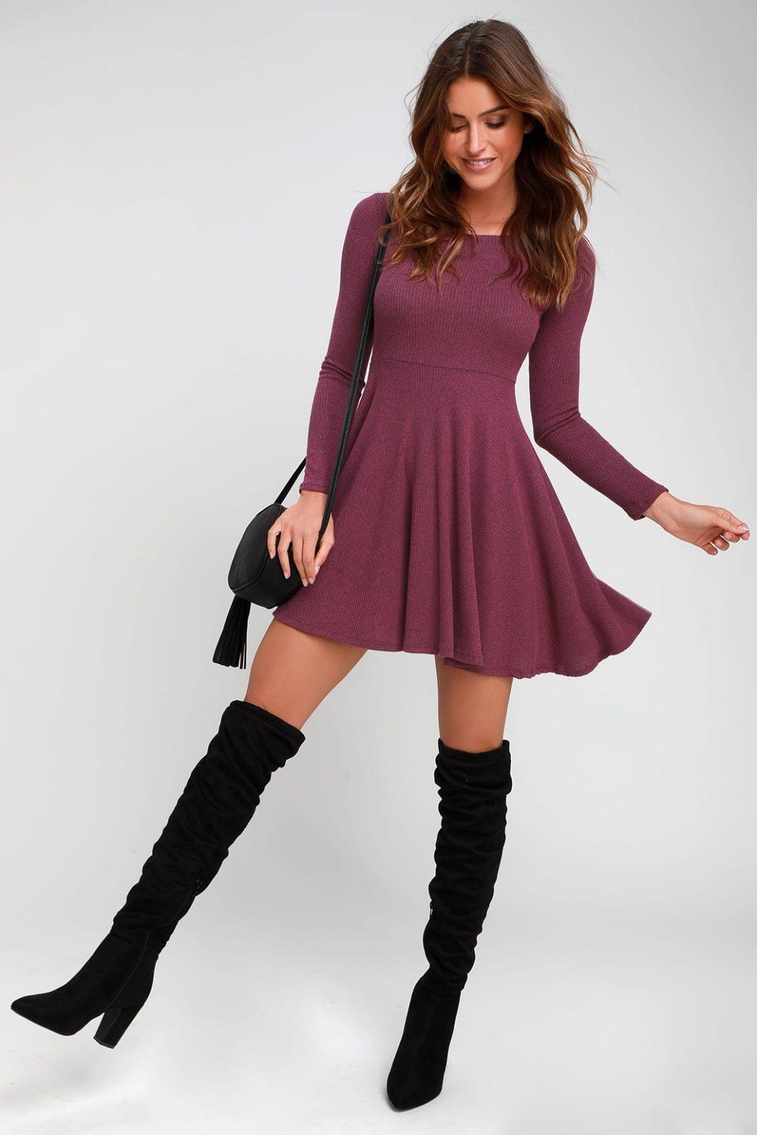 Burgundy flowy sweater dress