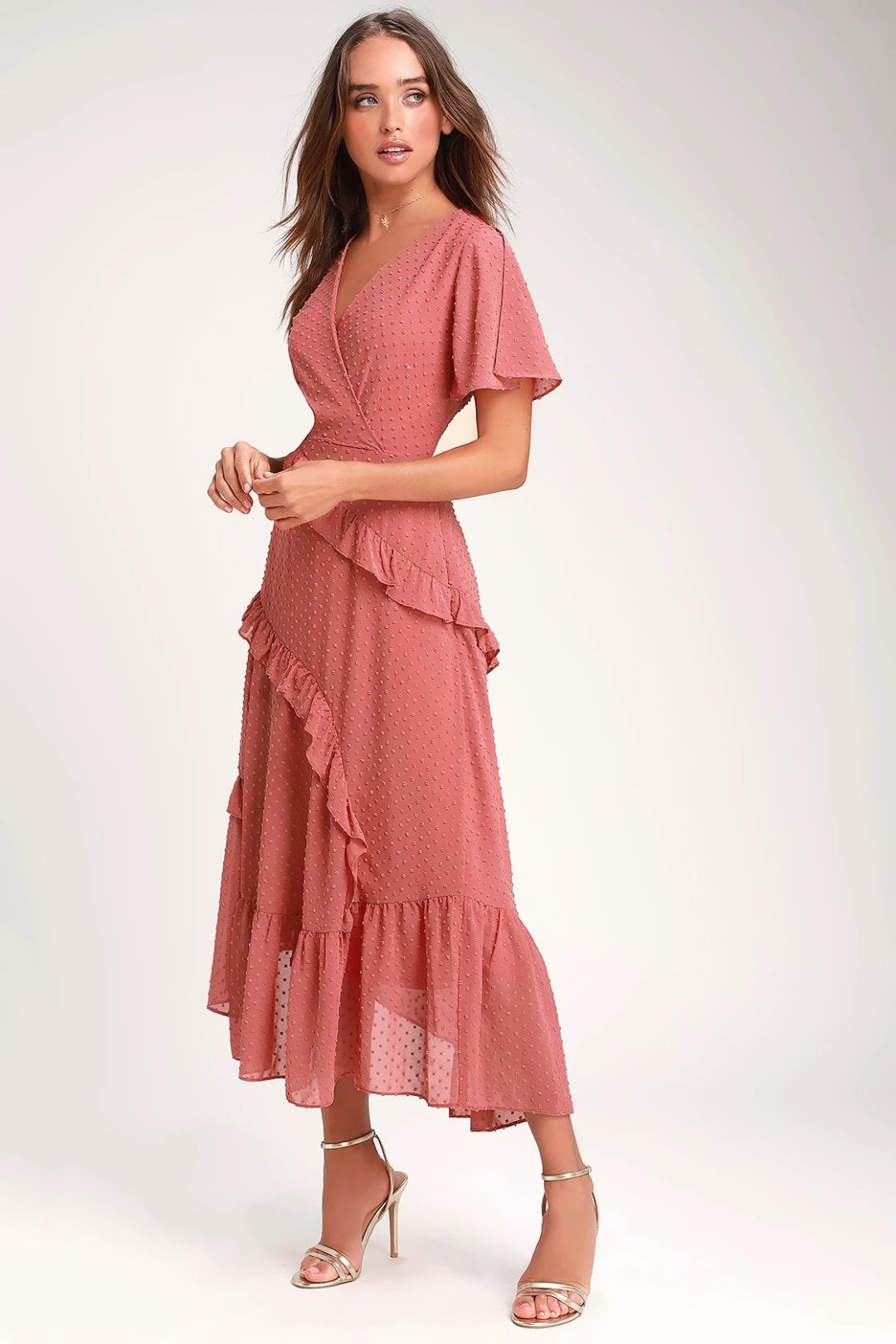 What To Wear To A Celebration Of Life: Soft pink ruffled dress with sleeves