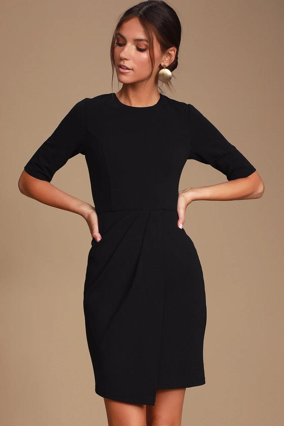 Simple black sheath dress for court