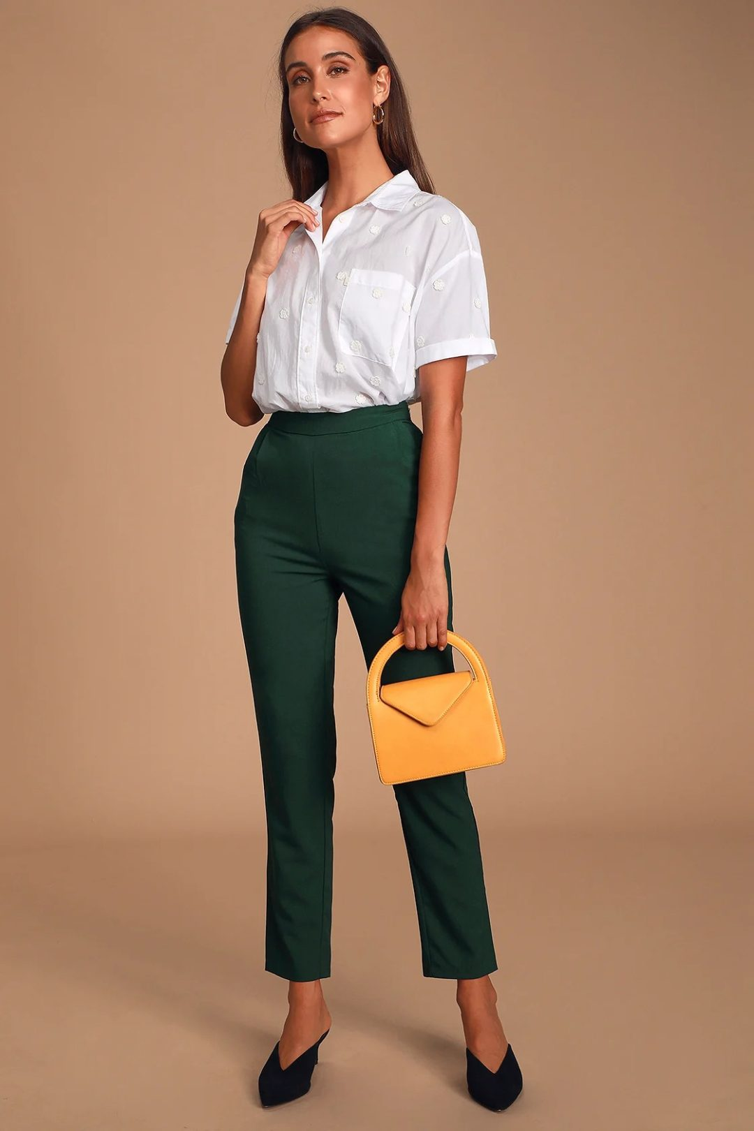White collared blouse with emerald green straight leg pants