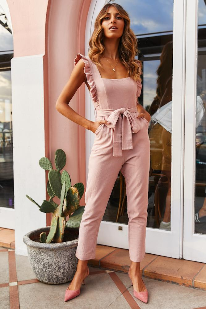 What To Wear To A Celebration Of Life: Ruffled blush jumpsuit