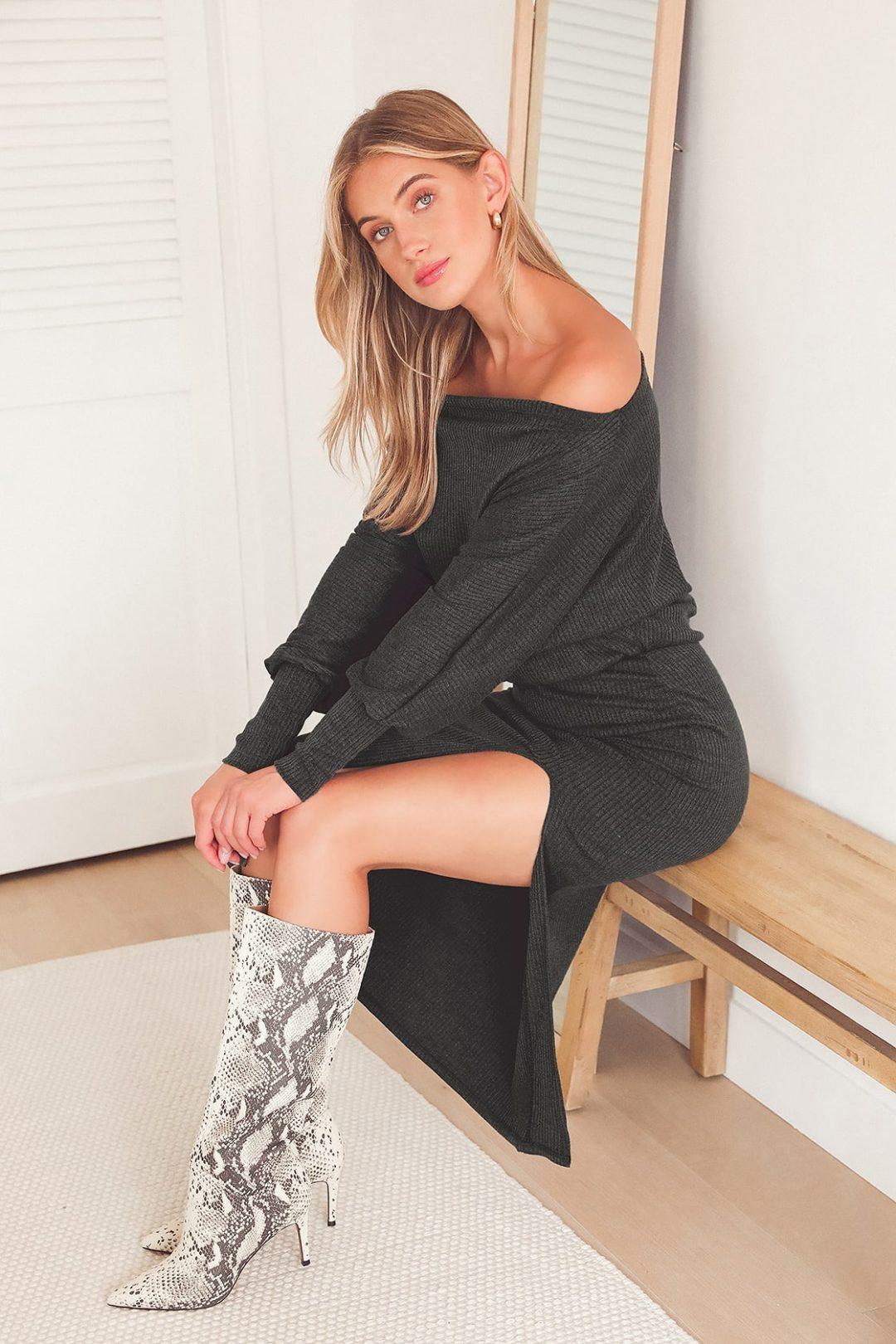 Off-shoulder sweater dress in dark grey