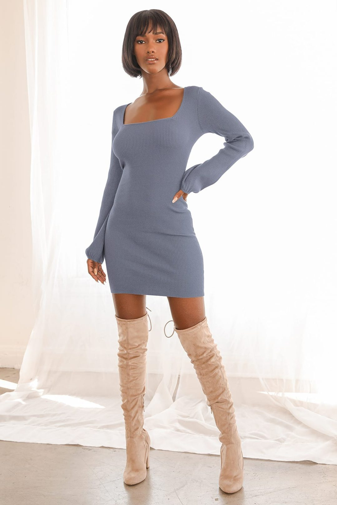 What To Wear With Thigh High Boots: Simple long-sleeve sweater dress with beige thigh-high boots