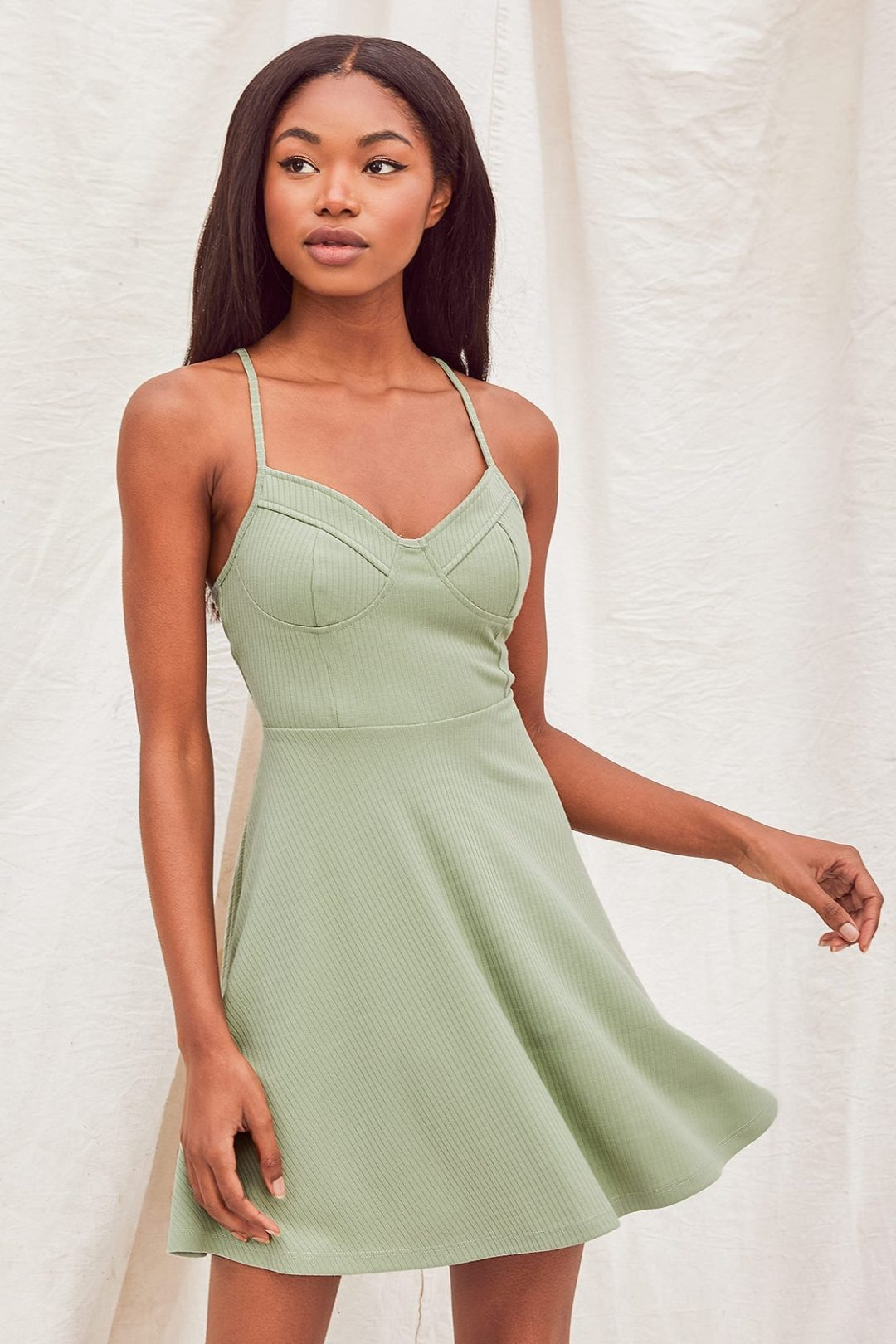 What To Wear With Sperrys: Sage green bustier skater dress