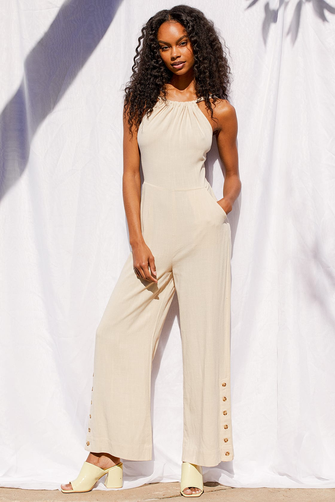 What To Wear To A Boat Party: Cream jumpsuit