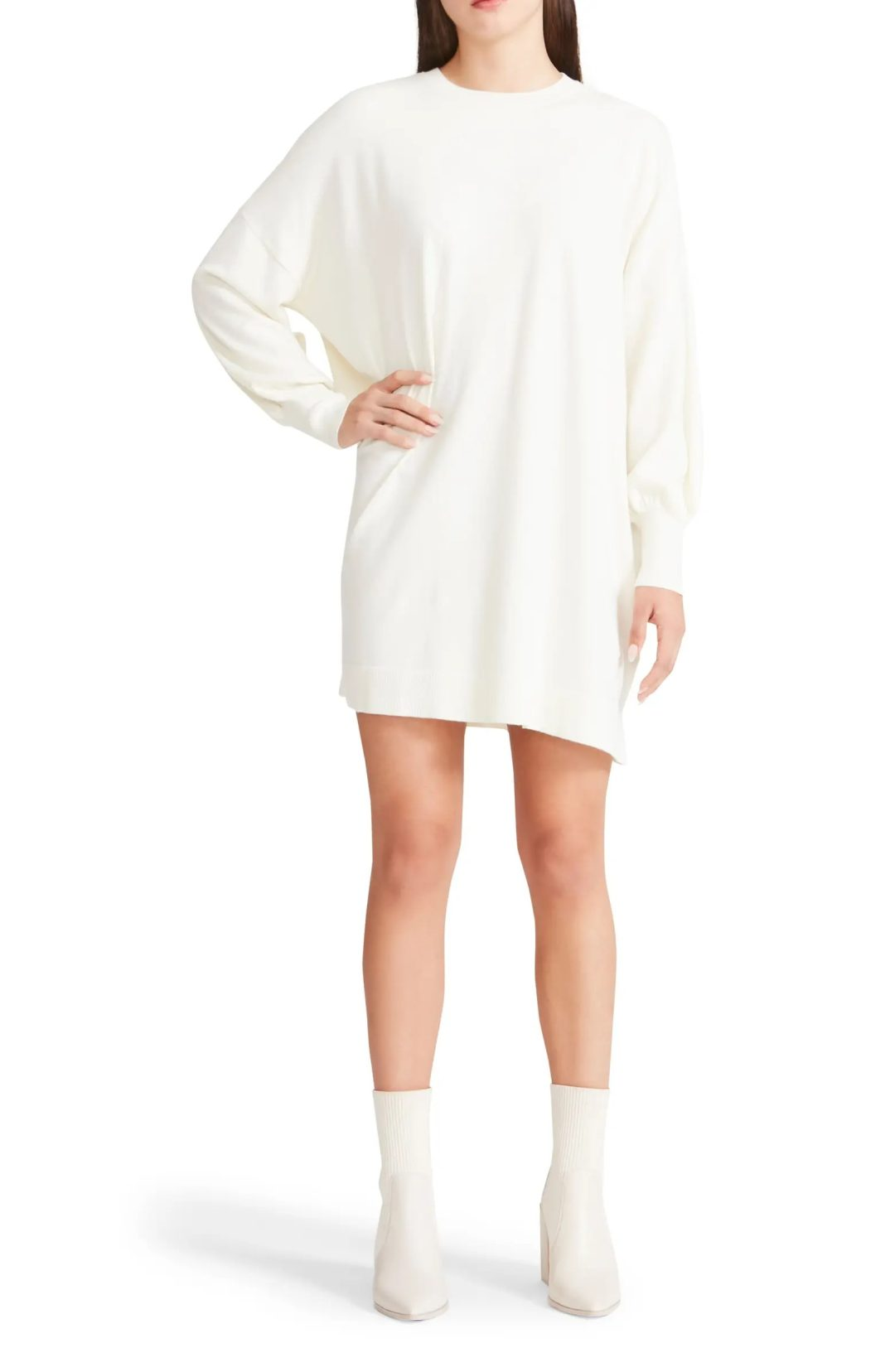 White sweater dress for cowboy boots