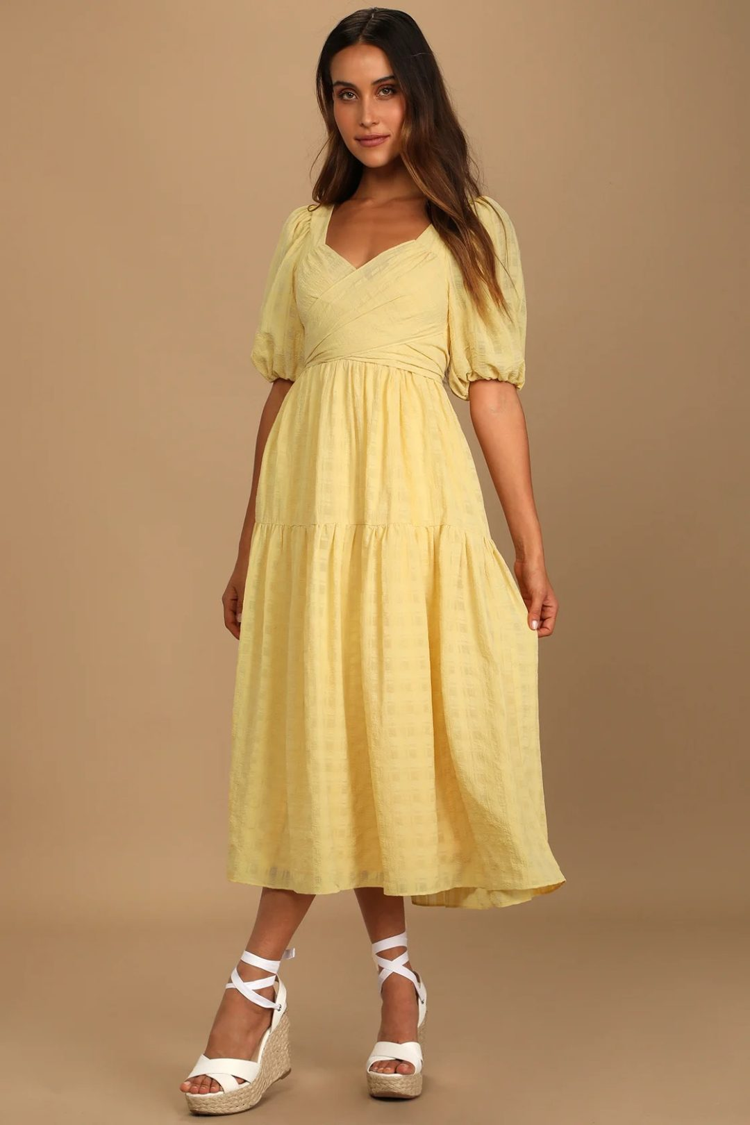 What To Wear To A Celebration Of Life: Yellow puff sleeve maxi dress